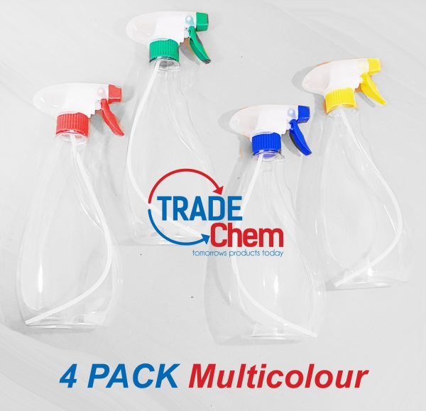 Clear 500ml Spray Bottles with Standard Spray Heads Pack of 4